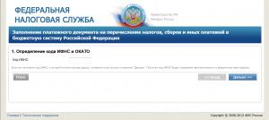 Сервис заполнение платежного документа на перечисление налогов окно1
