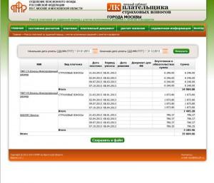 Реестр платежей в личном кабинете ПФР