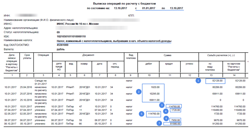 Образец расшифровки выписки из налоговой